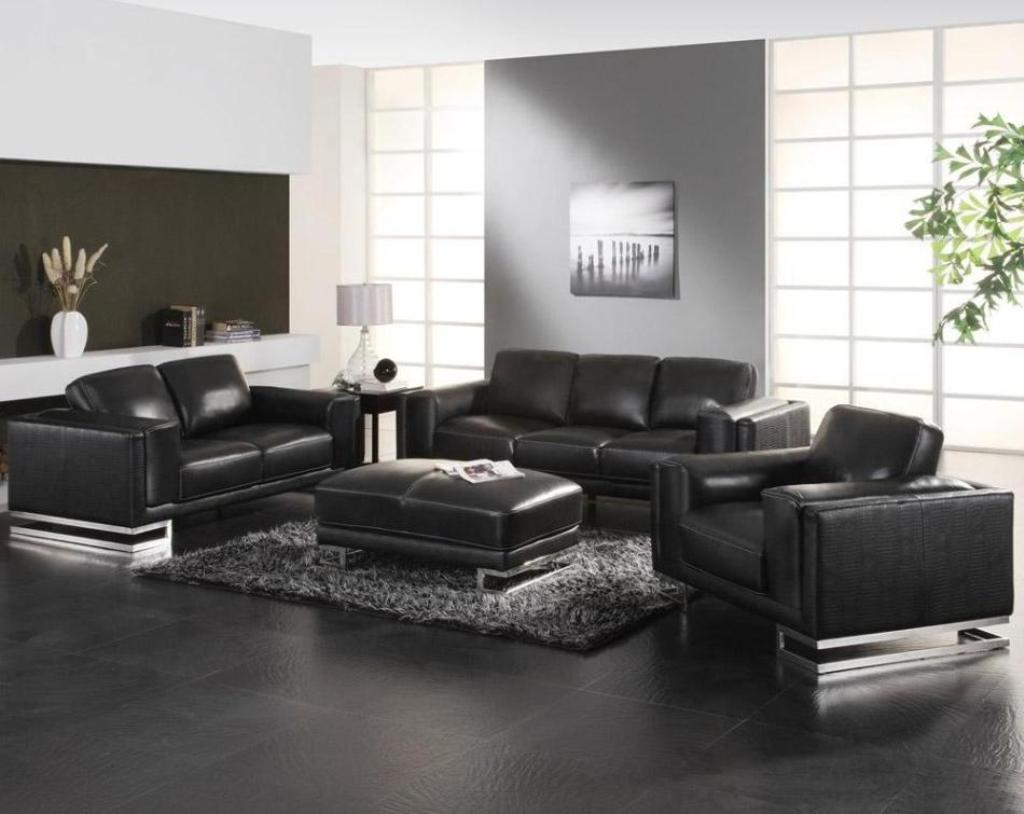 Leather Sofa Set With Grey Rug For Contemporary